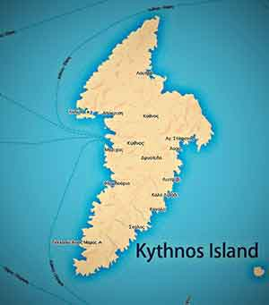 The map of Kythnos island